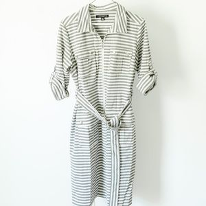 Sharagano Fitted Gray and White Stripe Zip Dress
